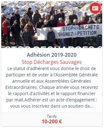 vignette cotisation adhésion association Stop Décharges Sauvages