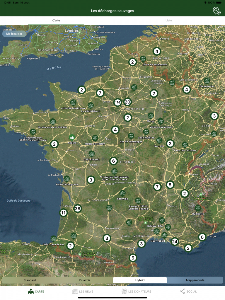 Carte de France des Décharges Sauvages